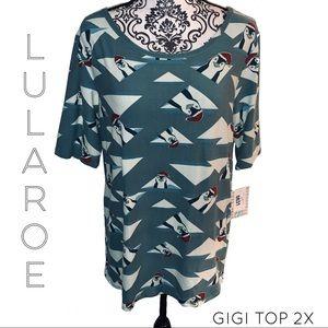 LuLaRoe GiGi Holiday Penguin Top Size 2XL